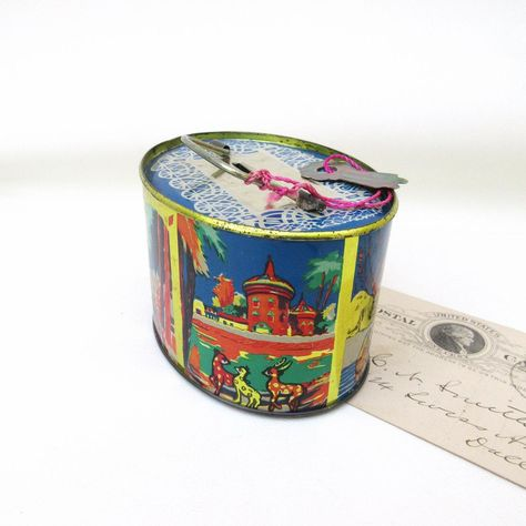 Vintage Metal Coin Bank Tin Bank With Original Key Tin Box Piggy