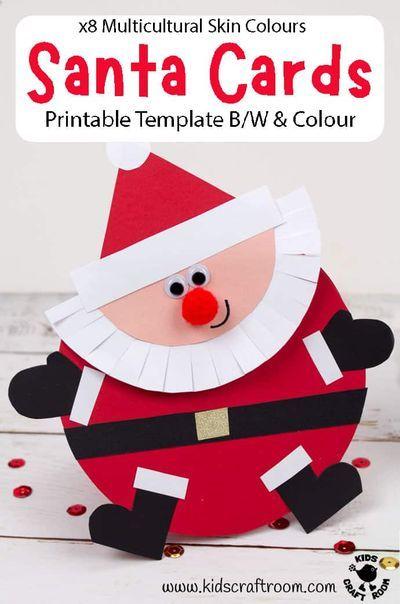 Santa Christmas Cards Christmas Card Crafts Christmas Cards Handmade Kids Christmas Cards Kids
