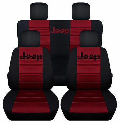 Black Burgundy With Jeep Paw Prints Logo Seat Covers Do Not Only Protect The Original Seat But Jeep Seat Covers 4 Door Jeep Wrangler Jeep Wrangler Accessories