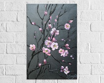 Cherry Blossom Painting Flower Large Vertical Wall Art Cherry Etsy Cherry Blossom Painting Cherry Blossom Painting Acrylic Cherry Blossom Art