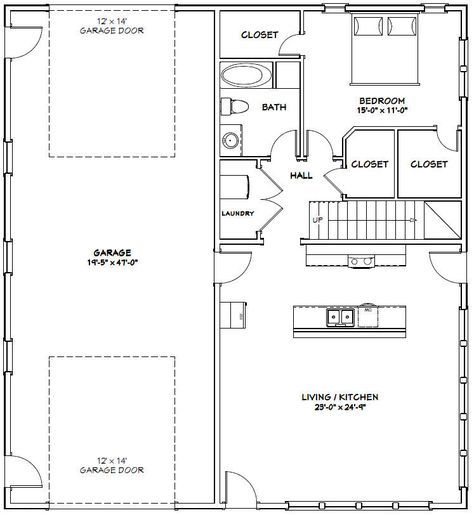 44x48 House 44x48h3e 1 574 Sq Ft Excellent Floor Plans Garage House Plans Carriage House Plans Barn Apartment Plans