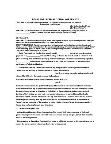 Rent To Own Agreement Sample Form Lease Agreement Free Printable