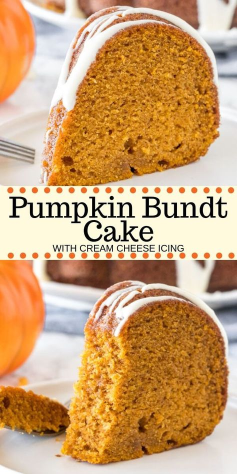 Hands down - the best pumpkin cake you'll ever try! This moist pumpkin bundt cake has a delicious pumpkin flavor, is filled with warm spices, and topped with a drizzle of cream cheese glaze. Way easier than making pumpkin pie - it's the perfect dessert for fall.#pumpkin #pumpkincake #bundt #easy #dessert #fall #thanksgiving #recipe #fromscratch #moist #creamcheese #pumpkinbundtcake
