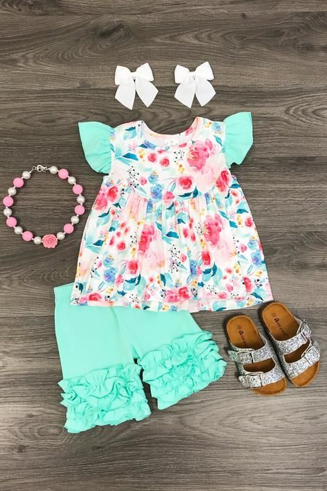 Shorts Pants Outfits 2 Pcs Little Bitty Girls Summer Clothes Toddler Girl Short Sets Cotton Clothing Ruffle Tops