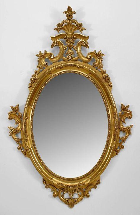 Francés espejo dorado espejo de pared de estilo victoriano