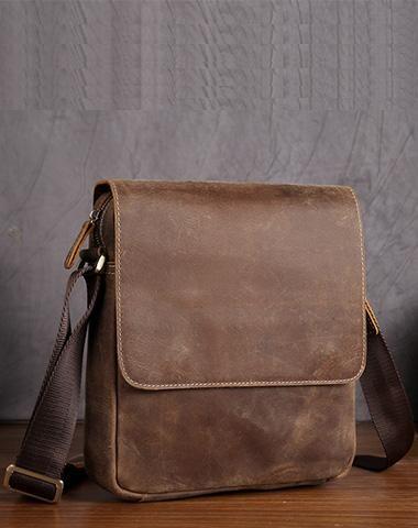 Leather Mens Brown Cool Messenger Bag Vintage Shoulder Bags