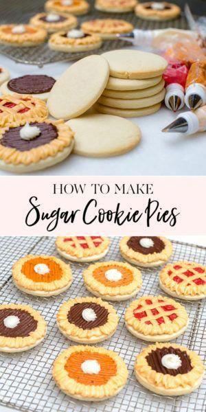 How to Make Sugar Cookie Pies | unique cookie recipes | thanksgiving themed cookies || JennyCookies.com #cookies #thanksgiving #desserts #cookiedecorating #jennycookies #biscuiteerscookies