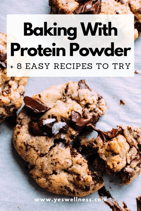 Baking with Protein Powder: 8 Easy Recipes to Try Incorporating protein powder into your diet does not have to be boring. Here are several recipes to get you started baking with protein powder. Protein Cookie Recipe, Whey Protein Recipes, Protein Pudding, Healthy Protein Snacks, Protein Powder Recipes, Healthy Cookies, Protein Foods, Healthy Sweets, Healthy Baking