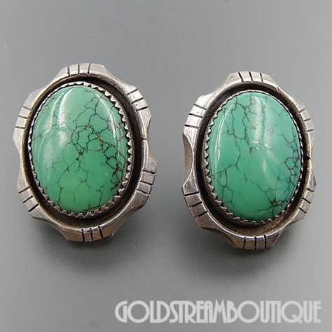 49f80bc13 NATIVE AMERICAN VINTAGE NAVAJO STERLING SILVER OVAL GREEN SPIDERWEB  TURQUOISE POST EARRINGS