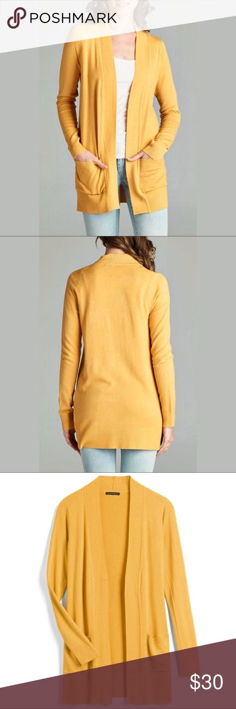 NWOT staccato yellow open front ribbed cardigan NWOT - Never worn!  Oversized premium rib contrast band open front long sleeve solid everyday  cardigan. 580d23c5e