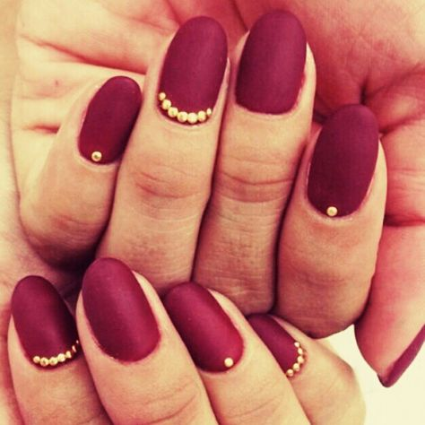 Bordeaux nail art with studs
