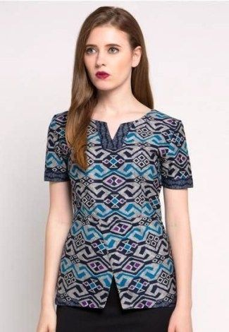 Model Baju Batik Atasan Untuk Wanita Lengan Pendek Costura Di 2019