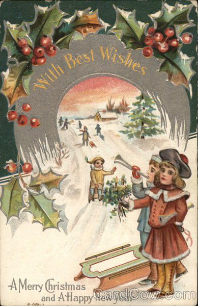 A Merry Christmas And A Happy New Year Vintage Christmas Cards Christmas Collectibles Christmas Postcard