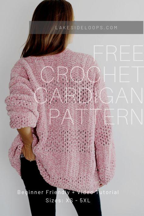 Pull Crochet, Crochet Coat, Crochet Jacket, Easy Crochet, Crochet Clothes, Crochet Shrugs, Crochet Sweaters, Knit Cardigan Pattern, Crochet Cardigan Pattern Free Women