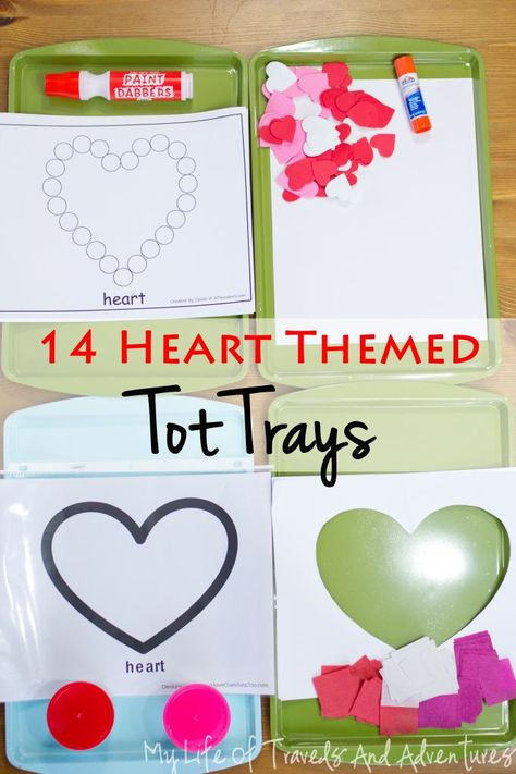 Heart Themed Tot School - 14 Heart Themed Tot Trays & 1 Sensory Bin | #TotSchool #TotTray #SensoryBin #Heart #ValentinesDay #Toddler #Kids #School #Teaching