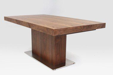 Modern Rectangular Walnut Wood Steel Base Extendable Dining Table
