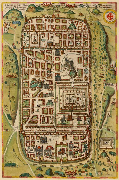 Database of ancient maps of Jerusalem Decoupage Vintage, Vintage Maps, Antique Maps, Antique World Map, Ancient Maps, Map Old, Jerusalem Map, Old World Maps, Map Globe