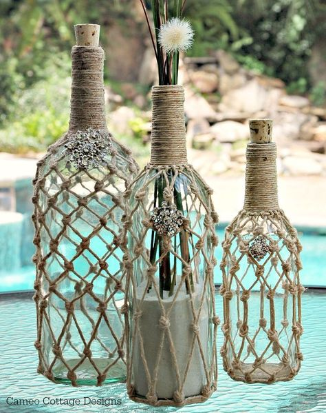 Hometalk :: Ballard Designs Rope Wine Bottle Knock Off
