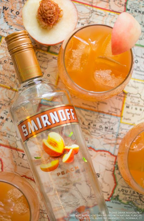 Going camping? This easy Peach Pit Punch is an easy drink for summer vacation and weekend getaways. Just mix 2 Cups Smirnoff Peach, 1.5 Cups Orange Juice, 1.5 Cups Cranberry Juice and Enjoy with 8 Campers.