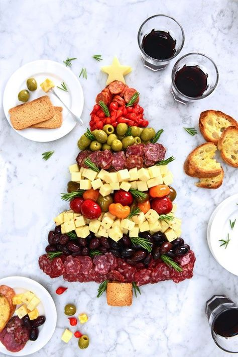 Christmas Tree Antipasto Plate - DeLallo /> Celebrate the season with everybody's favorite gourmet goodies! Create a stunning and festive holiday app using gourmet cheeses, cured meats and a selection of marinated Mediterranean bites from the. Christmas Canapes, Christmas Party Food, Xmas Food, Christmas Appetizers, Christmas Cooking, Holiday Parties, Christmas Desserts, Christmas Traditions, Christmas Cheese