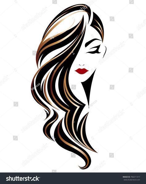 illustration of woman long hair style icon, logo woman on white background, vector