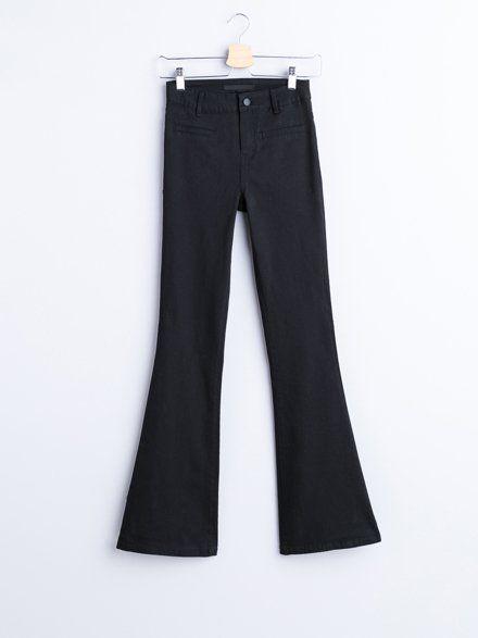 Czarne Spodnie Dzwony Pantsuit Fashion Suits