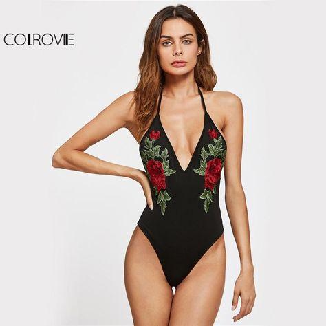 COLROVIE Halter Slim Backless Bodysuit Floral Embroidery Women Summer Beach  Bodysuits 2017 Basic Sexy Plunging Skinny Bodysuit 7fd533cf7