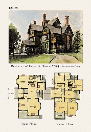 Residence Of Henry R Towne Esq Graphic Art Vintage House Plans Sims House Plans Victorian House Plans