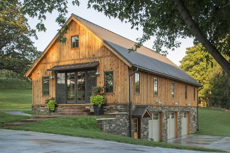 Gorgeous Wood Barn Home with 3 Car Garage Below. We love all the detail!  Sand Creek Post & Beam