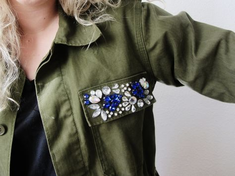 rhinestones on army jacket. NEED to do this!