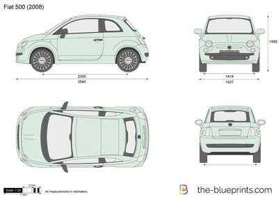 Fiat 500 Blueprint Aluminium Sign