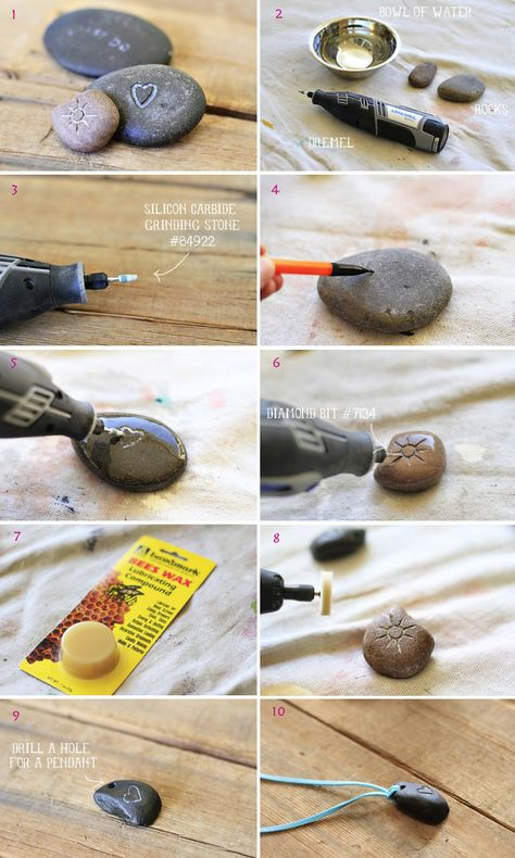 Carving Rocks with a Dremel! All you need is your Dremel, a couple of different bits, a small bowl of water and some smooth river pebblesStone carving with a Dremel tool. Steps polishing stone with bees wax.How to carve rocks with a Dremel. Make rock pend Stone Crafts, Rock Crafts, Fun Crafts, Diy And Crafts, Arts And Crafts, Beach Rocks Crafts, Decor Crafts, Dremel Werkzeugprojekte, Dremel Carving