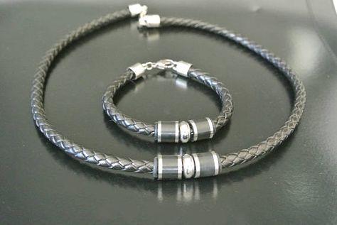collier homme acier et cuir