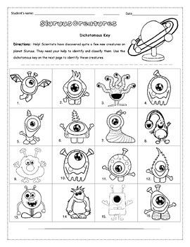 Pdf The Dichotomous Key Of Friendly Aliens With Guide How To Identify C Dichotomous Key Kindergarten Math Worksheets Addition Kindergarten Math Worksheets Free