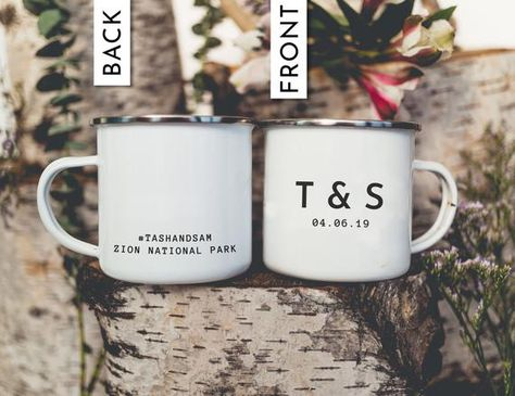 These personalized enamel camping mugs are the perfect wedding gift or wedding favors for a mountain wedding! This listing is for ONE mug only- photo shows back and front of the mug Features: -Size: 10 oz. Fluid -8cm tall x 8cm wide -Material: Metal, Cast Iron with Stainless Steel Rim -Care: Not