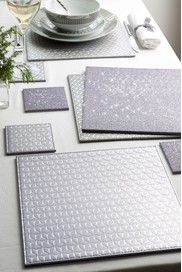Scandi Geometric Placemat And Matching Coaster Grey And Etsy Yellow Placemats Geometric Coaster Geometric