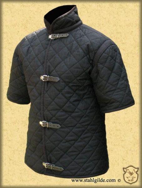 Medieval Celtic Viking Armor Padded Gambeson Short Sleeves, buckles on the front