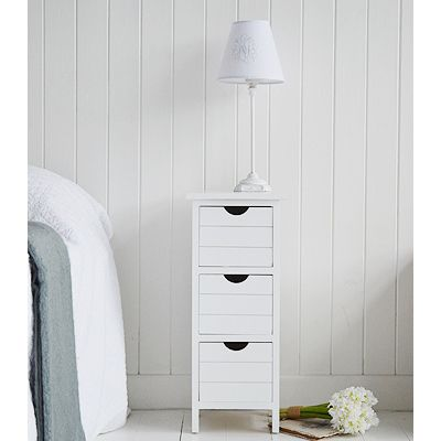 Narrow White Bedside Tables New England Bedroom Furniture In 2020 White Bedside Table Narrow Bedside Table Narrow White Bedside Table