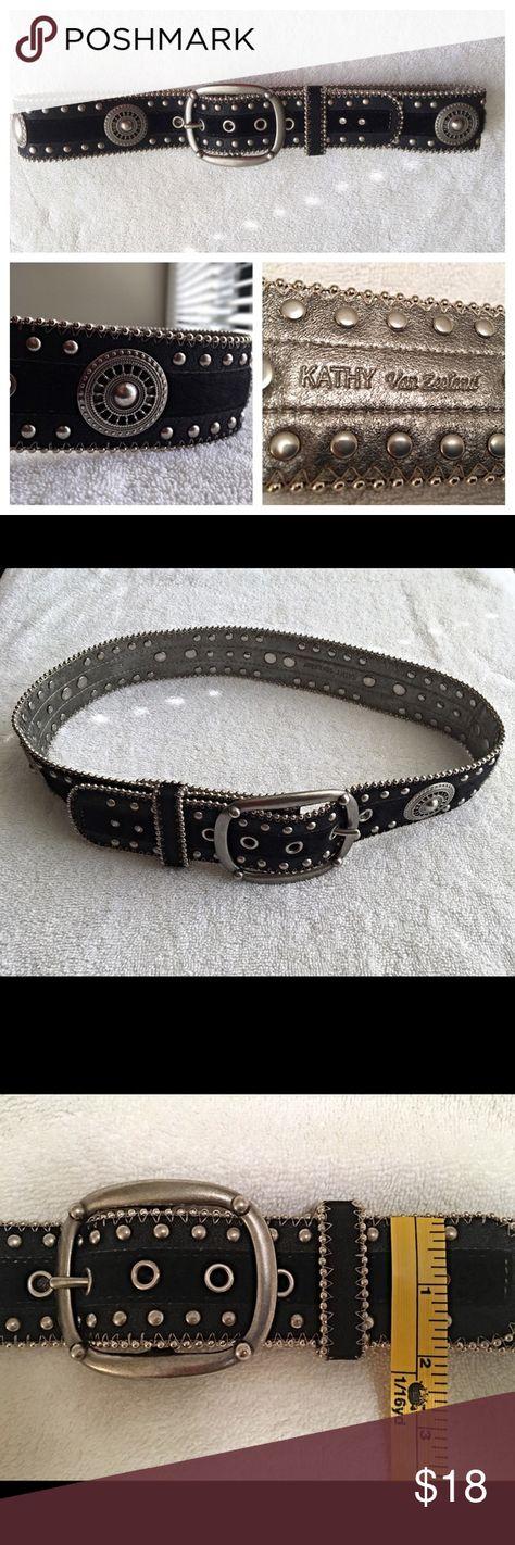 Kathy Van Zeeland Silver Disc & Rhinestone Belt Kathy Van Zeeland Silver Disc & Rhinestone Embellished Black Belt Kathy Van Zeeland Accessories Belts