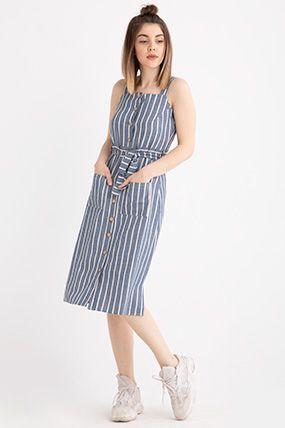 3890 Askili Onu Dugmeli Cizgili Elbise Cizgili Elbise Elbise Modelleri Elbiseler