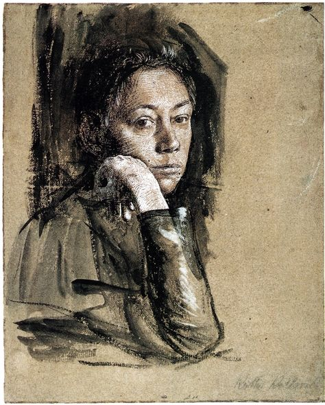 Käthe Kollwitz (1867-1945) Self-Portrait, 1891-92 - Käthe Kollwitz was a German painter, printmaker, and sculptor whose work offered an eloquent and often searing account of the human condition, and the tragedy of war, in the first half of the 20th century.