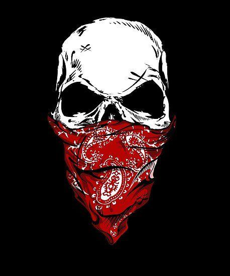 Badass Gang Skull With Red Bandana Poster By Printpress Cool Skull Drawings Skulls Drawing Skull Artwork