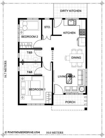 Home Design Plan 10x16m With 2 Bedrooms Small House Design Plans House Floor Plans Bungalow House Floor Plans