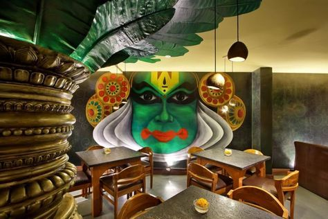 Wall Mural Is A Major Highlight In South Indian Restaurant Restaurant Interior Design Indian Interior Design Indian Interiors