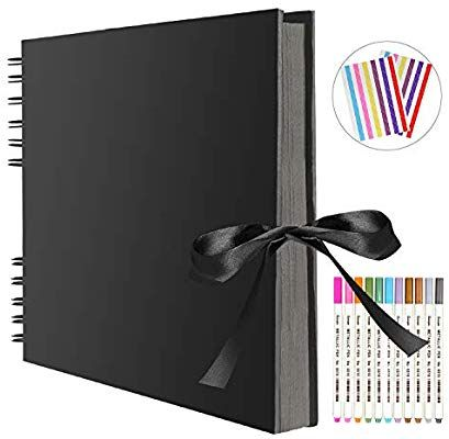M-Aimee DIY Scrapbook Photo Album 80 Pages Silk ribbon Album Craft Paper Album Yellow with Photo Album Storage Box DIY Accessories Kit 11.4x8.38 Inches