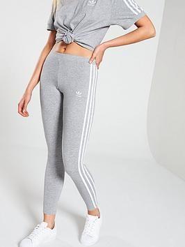 Adidas Originals Adicolor 3 Stripe Tights Grey in Grey
