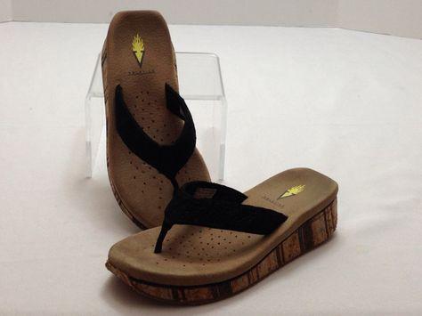 aaab862384cf5 Volatile thongs flip flops sandals black eyelet lace strap strip cork sz 7   VOLATILE  FlipFlops  ca
