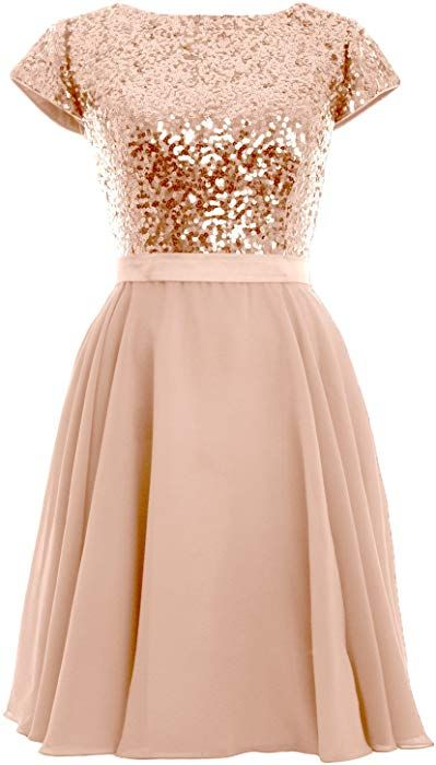 Amazon Com Macloth Women Cap Sleeve Sequin Chiffon Short Birdesmaid Dress Formal Party Gown Us4 Rose Gold Cha Gold Dress Short Rose Gold Dress Short Dresses