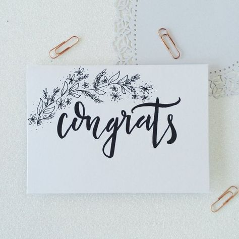 Calligraphy congratulations card. Hand illustrated card with floral details. Lovely way to say congrats for those special occasions! - perfect for engagement, wedding, new baby and baby shower. Written and drawn by hand with black ink on a choice of colour card. Choose your colour with