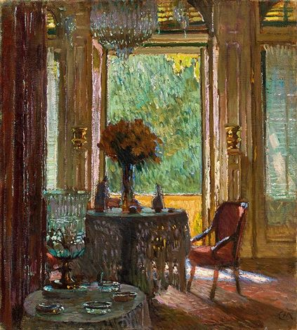 Interior with flower bouquet by Carl Moll | Art, Flowers, Painting